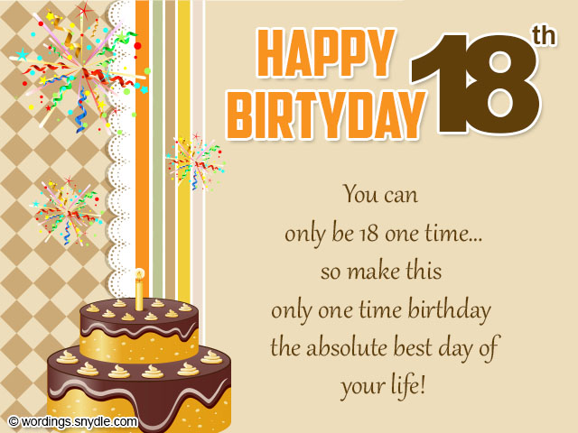 18th Birthday Card Wordings