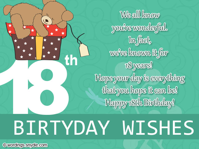 18th Birthday Wishes, Greeting and Messages - Wordings and ...