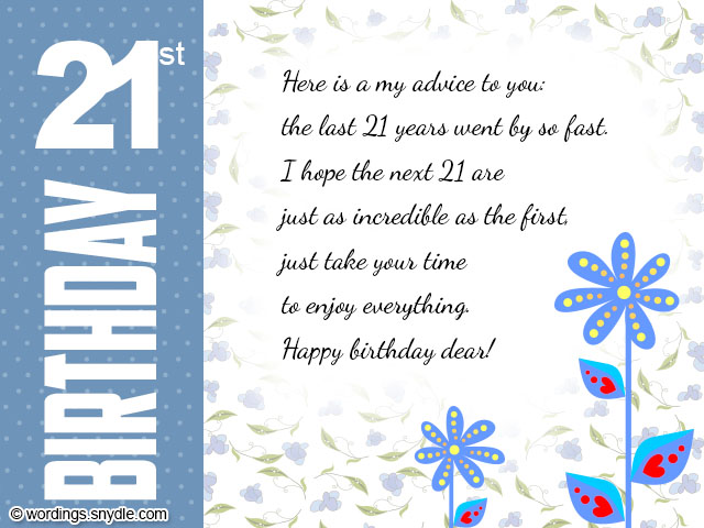 21st Birthday Wishes Messages And Card Wordings