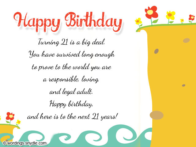 21st Birthday Wishes, Messages and 21st Birthday Card Wordings ...