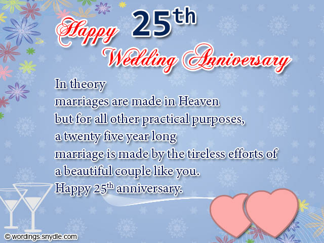 25th wedding anniversary wishes messages and wordings wordings 25th wedding anniversary greetings m4hsunfo