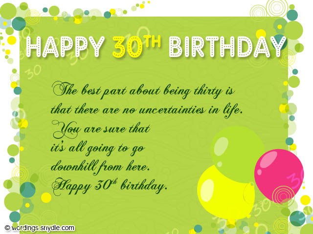 30th Birthday Wishes - Wordings and Messages