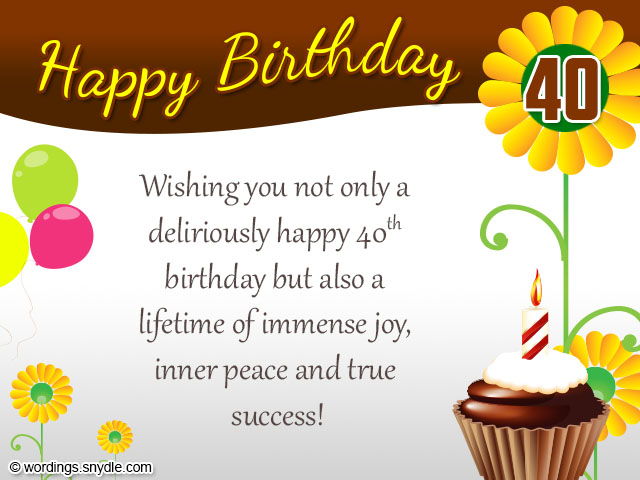 40th Birthday Wishes Messages and Card Wordings Wordings and – Happy 40th Birthday Card