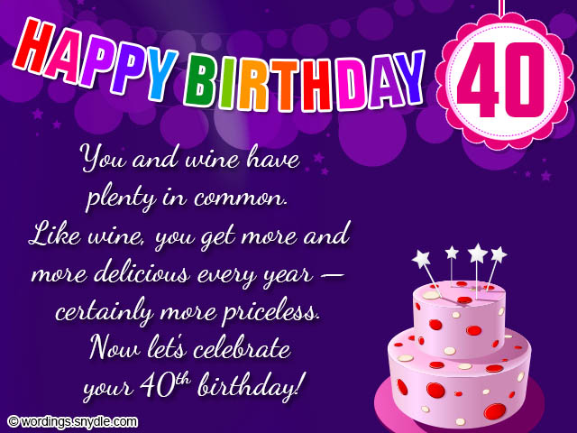 40th Birthday Wishes, Messages and Card Wordings - Wordings and ...