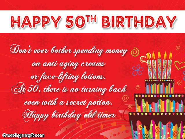 50th Birthday Card Wordings