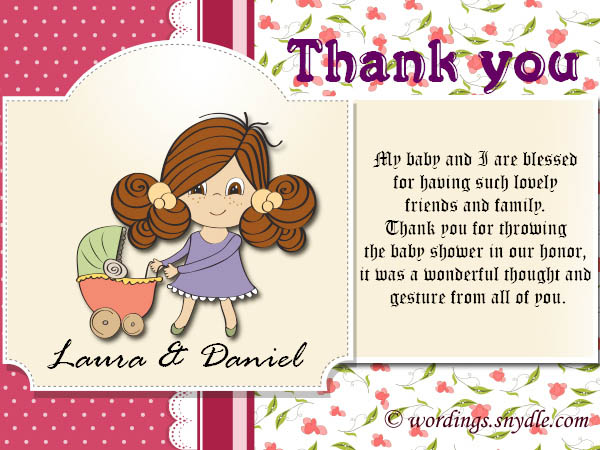 thank you very much baby shower thank you card wording