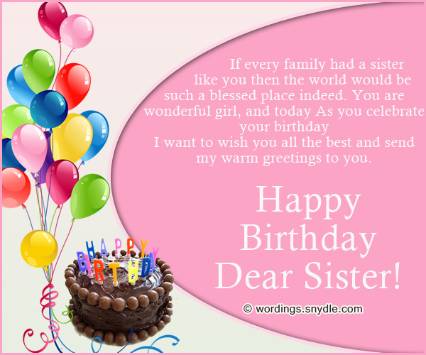 Best Sister Birthday Wishes And Greetings