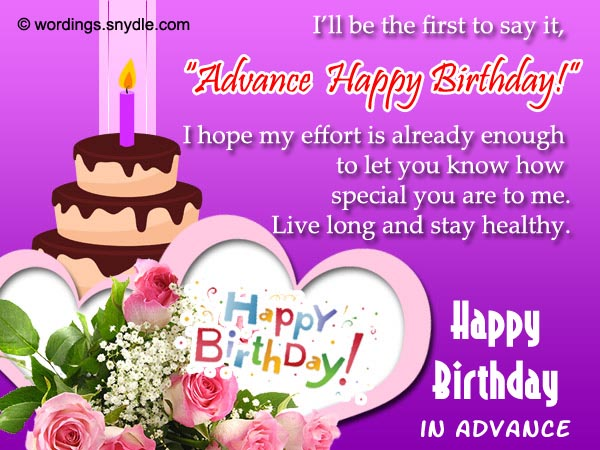 Advance Birthday Wishes, Messages and Advance Birthday Card Wordings