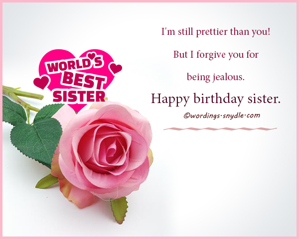 Happy birthday wishes for sister wordings and messages happy birthday sister i used to wish you were a boy but instead i got you and now we are stuck like glue m4hsunfo