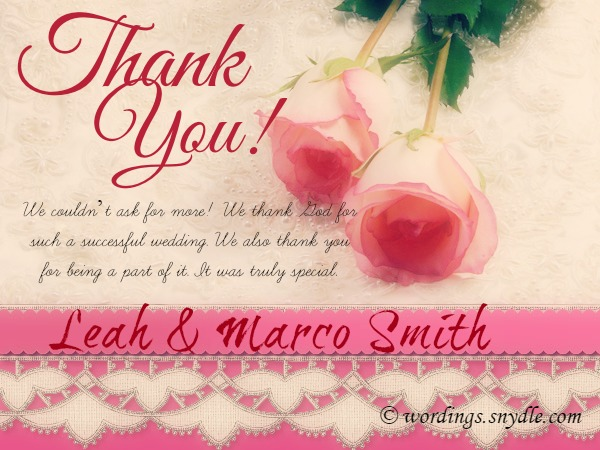 Wedding Thank You Notes Wordings And Messages