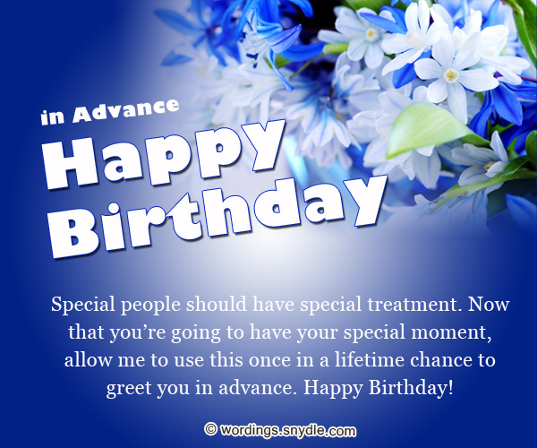 Advance birthday wishes messages and advance birthday card wordings advance birthday greetings m4hsunfo