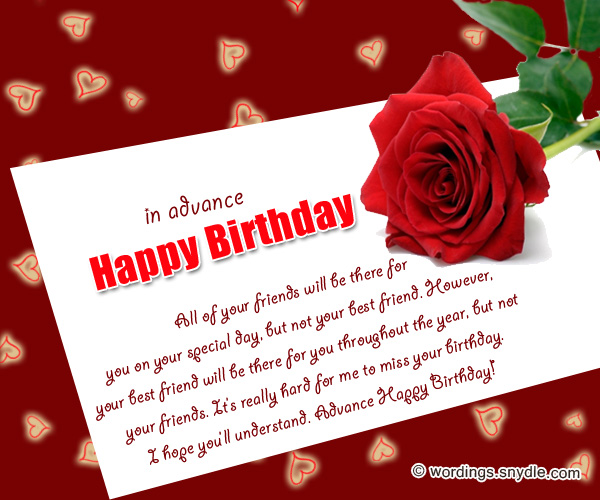 Advance birthday wishes messages and advance birthday card wordings advance birthday wishes cards m4hsunfo