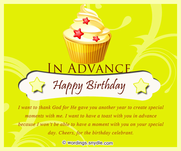 Advance Birthday Wishes, Messages and Advance Birthday Card Wordings ...
