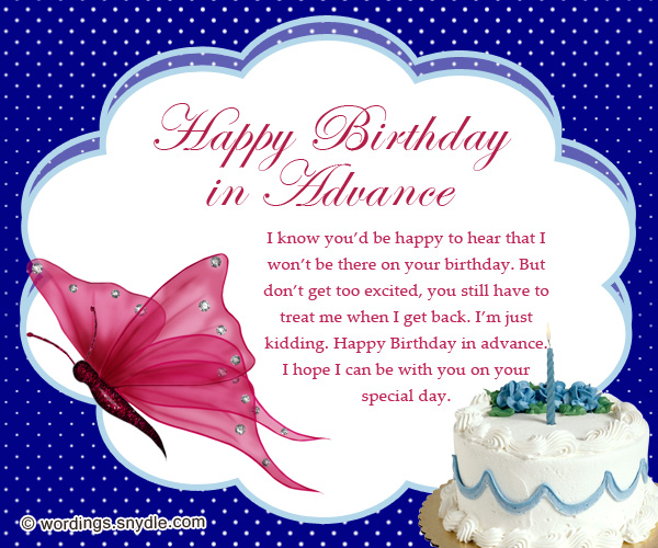 Advance Birthday Wishes Messages and Advance Birthday Card – Friend Birthday Card Messages