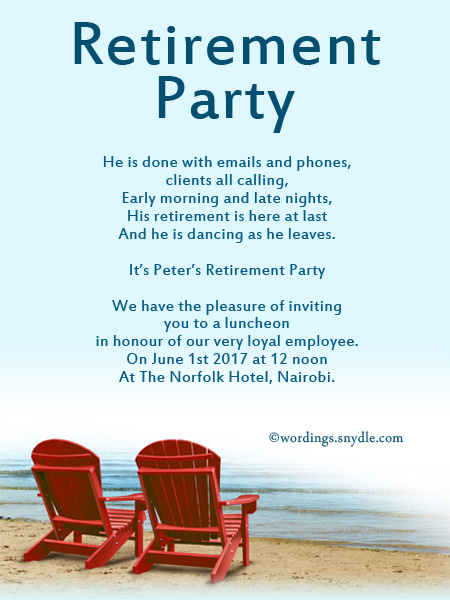 Retirement Party Invitation Wording Ideas and Samples Wordings – Party Invitation Message