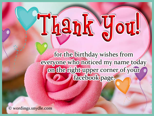 Birthday Thank You Messages For Facebook