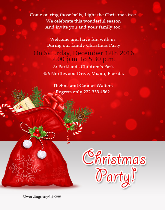 christmas invitation wordings