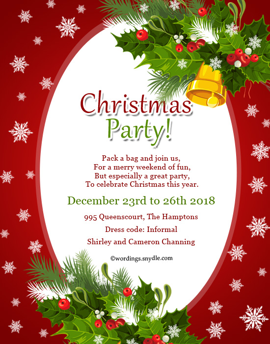Christmas Party Invitation Wordings Wordings and Messages – Christmas Party Invitation Card