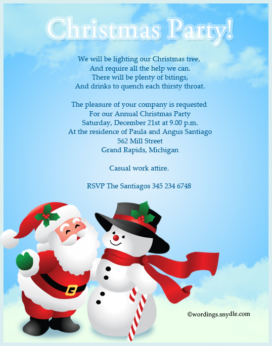 christmas party invitation greetings