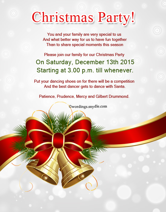christmas party invitation wordings sample card