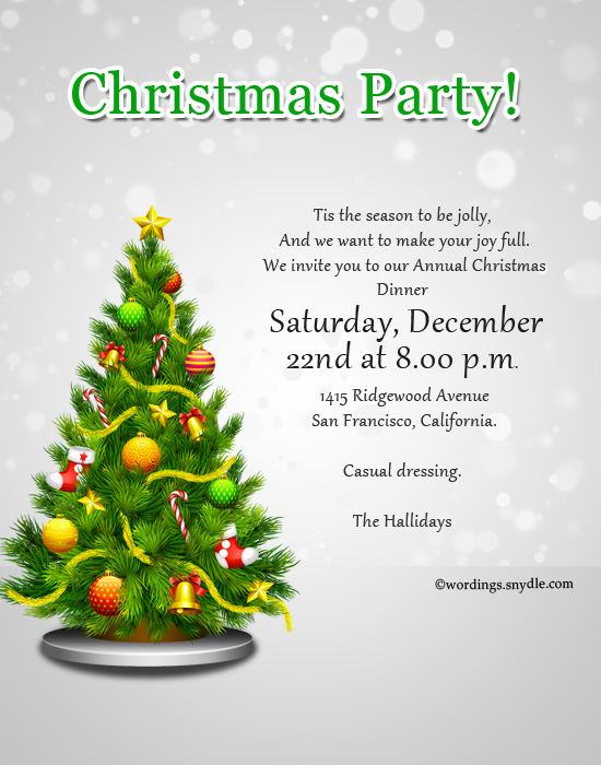 sample christmas party invitation wordings