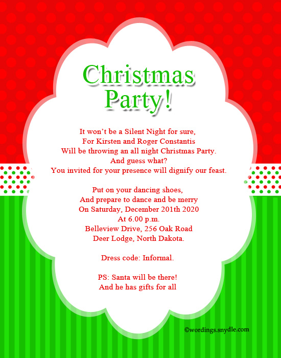 invitation wordings for christmas party