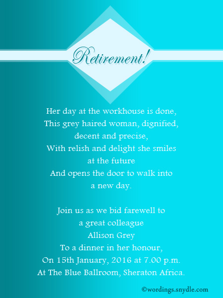 Retirement Party Invitation Wording Ideas and Samples - Wordings and Messages