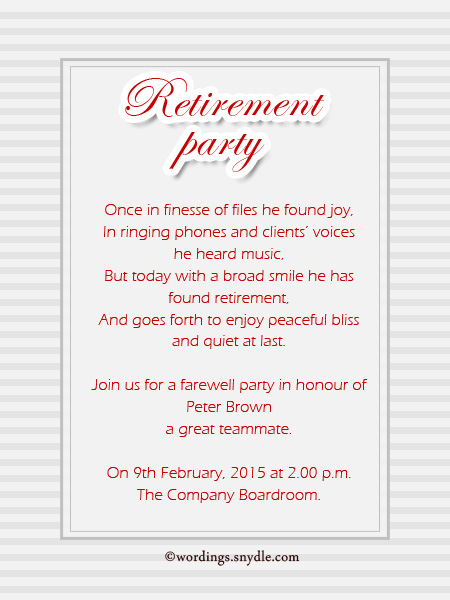 Retirement Party Invitation Wording Ideas And Samples Wordings - Birthday invitation card wordings