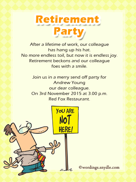 Retirement party invitation wording ideas and samples wordings and retirement party invitation cards sample stopboris Images