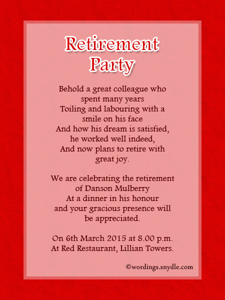 Retirement Party Invitation Wording Ideas and Samples Wordings – Retirement Party Invitations Ideas