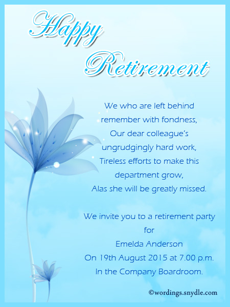 Retirement party invitation wording ideas and samples wordings and retirement party invitation greetings stopboris Image collections