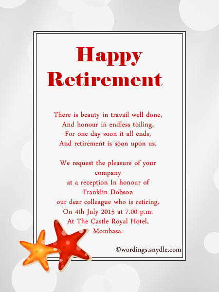 Retirement Party Invitation Wording Ideas and Samples Wordings – Passion Party Invitation Wording
