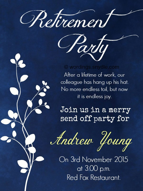 Retirement party invitation wording ideas and samples wordings and retirement party invitation wording stopboris Images