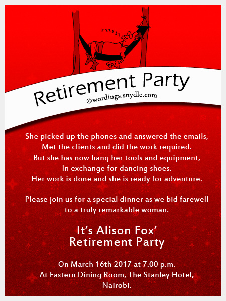 Retirement party invitation wording ideas and samples wordings and retirement party invitation wordings stopboris Image collections