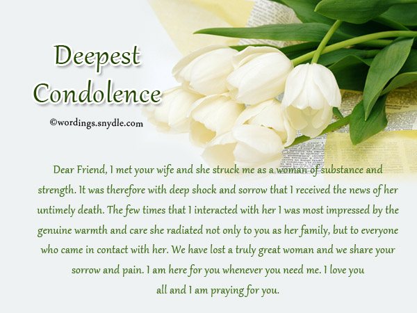 Sympathy Messages For Loss Of A Wife  Wordings And Messages