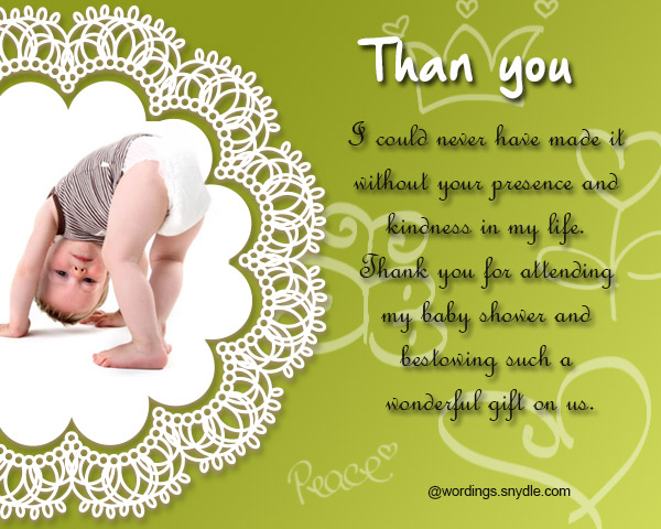 Thank You Messages For Baby Shower Messages And Gifts Wordings And