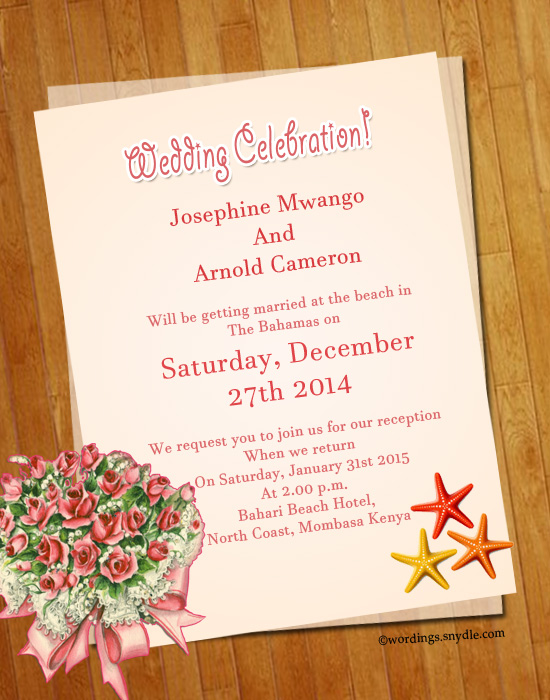 Beach Wedding Invitation Wording Samples Wordings and Messages
