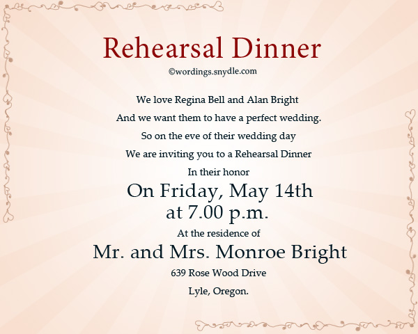 wedding rehearsal dinner invitation wording sles wordings and
