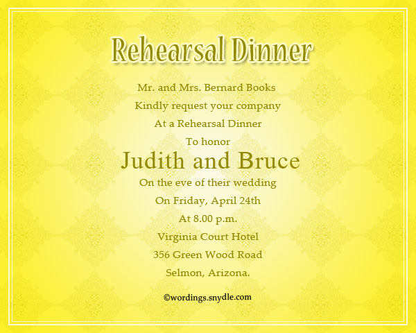 Wedding Rehearsal Dinner Party Invitation Sample  Dinner Invitation Sample