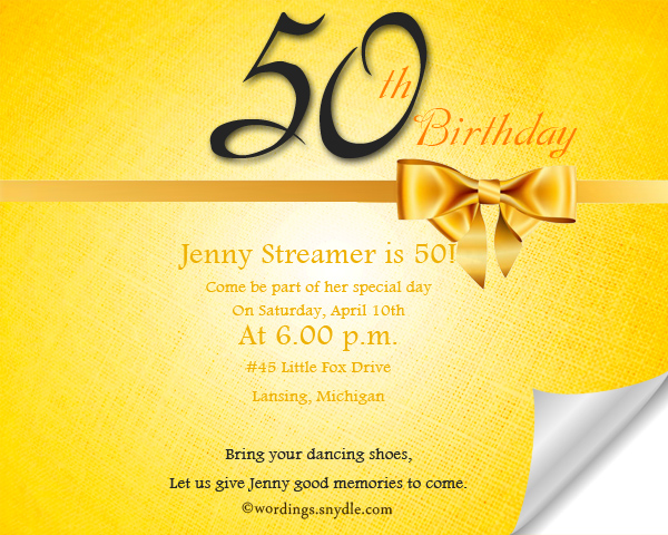 50 Birthday Invitation Wordings Sample