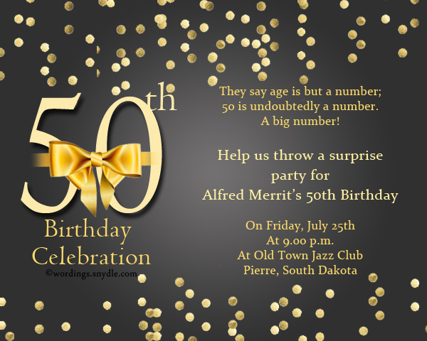 50th Birthday Invitation Wording Samples Wordings and Messages – Words for a 50th Birthday Card