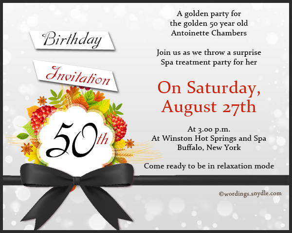 50th Birthday Invitation Wording Samples Wordings and Messages – Spa Party Invitation Wording
