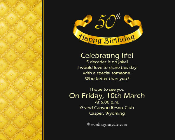 50th Birthday Invitation Wording Samples