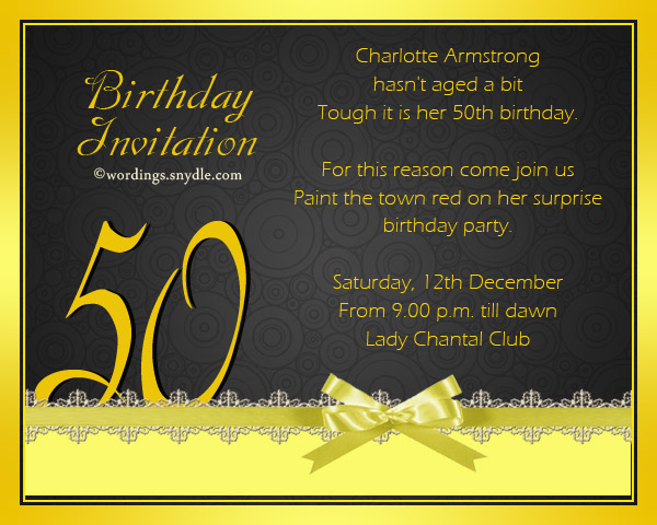 50th Birthday Invitation Wording Samples Wordings and Messages – Party Invitations 50th Birthday