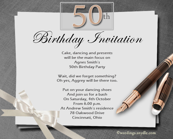 50th Birthday Invitation Wording Samples Wordings and Messages – Party Invitation Message