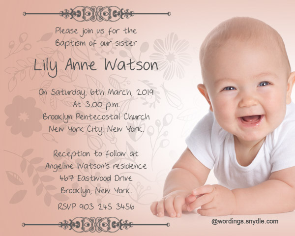 Baptism Invitation Wording Samples - Wordings and Messages