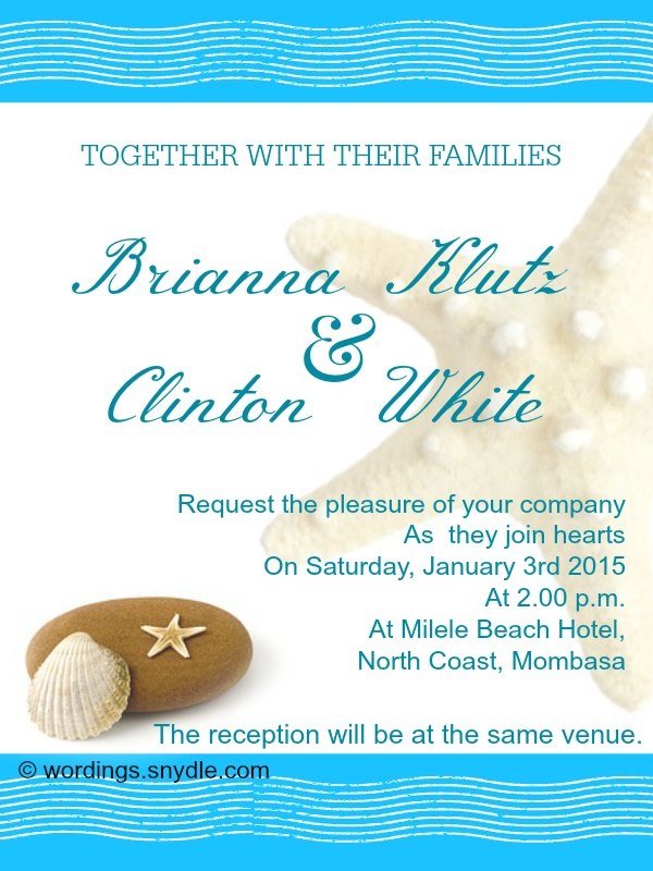 Beach Wedding Invitation Wording Samples - Wordings and Messages