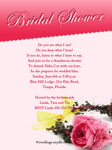 Bridal shower invitation wordings wordings and messages best bridal shower invitation wordings sample stopboris Images