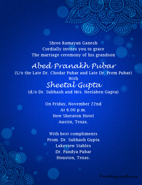 wedding messages indian invitation
