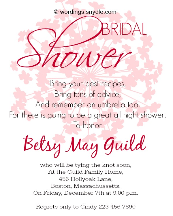 Bridal Shower Invitation Wording Sample  Bridal Shower Invitation Samples